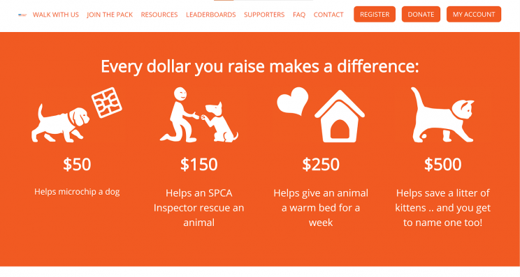 New Zealand SPCA shows impact on their homepage