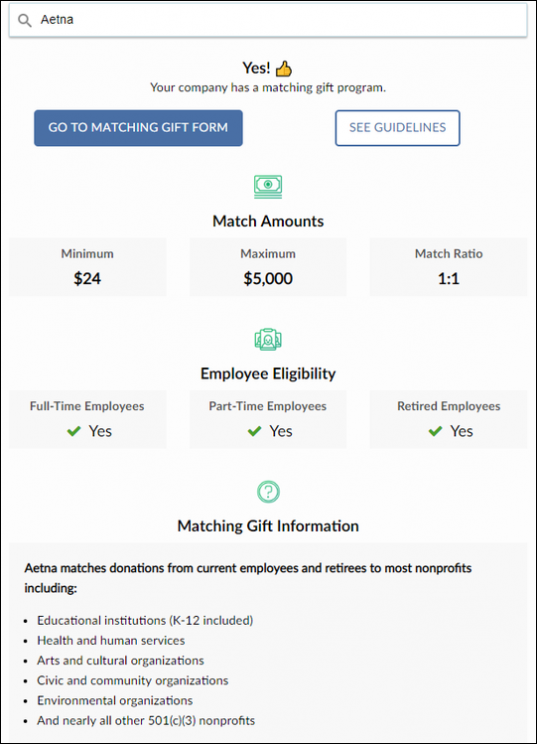 Double the Donation - Aetna matching gift program example