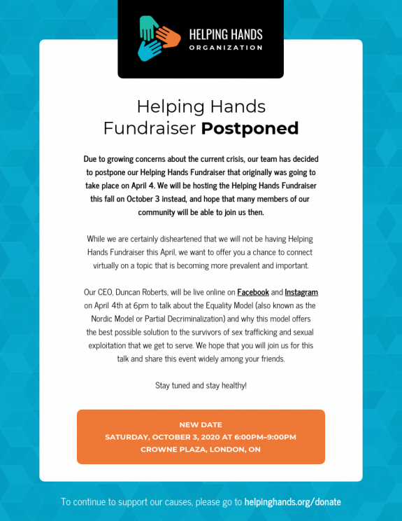 Helping Hands Fundraiser Postponed: Example of Nonprofit Transparency