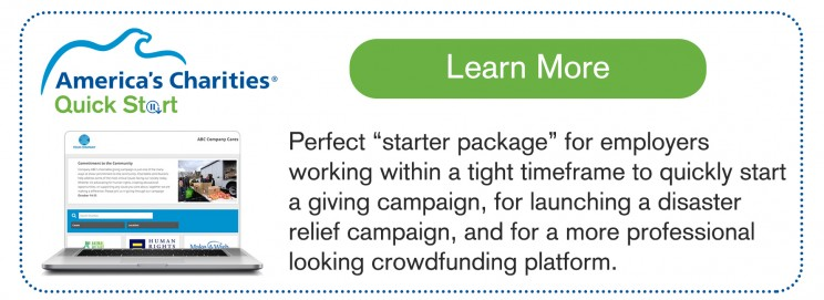Quick Start employee giving solution - professional crowdfunding platform
