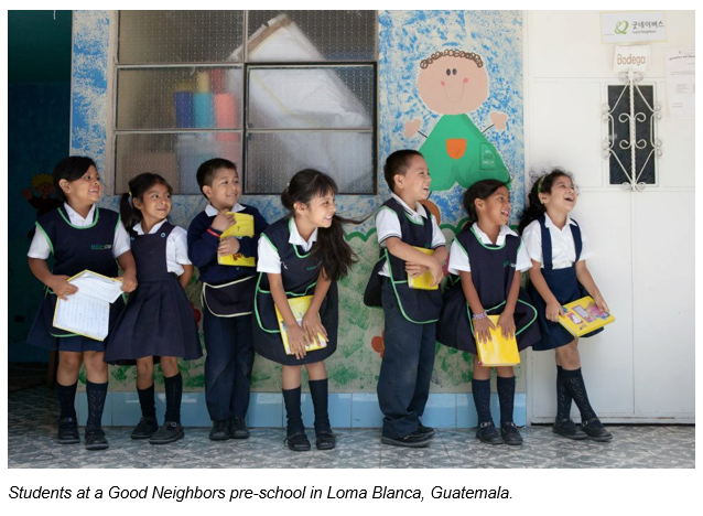 Students at a Good Neighbors pre-school in Loma Blanca, Guatemala