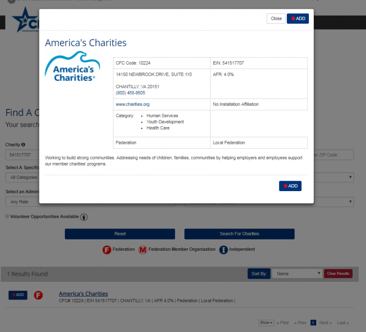 sample charity profile on CFC giving site