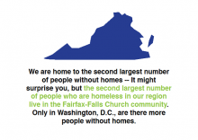 Good Shepherd Housing & Family Services (GSH) stat about Fairfax County homelessness